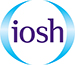 A logo in light blue  of two semi circles and purple text in the centre which states IOSH