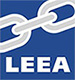 A logo of a grey chain link with a navy blue background in a square with the initials LEEA