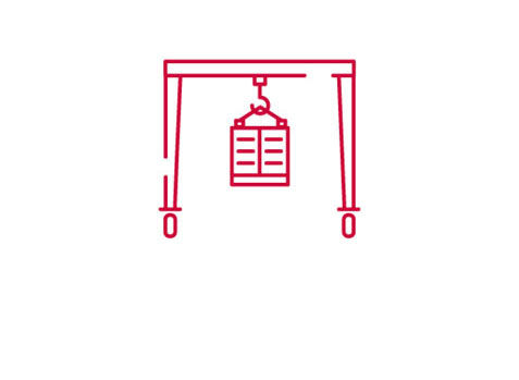 Rubber Tyre Gantry Crane Icon in Red