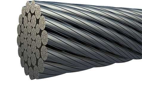 A 3D Image created of some steel wire rope showing the end.  The construction is commonly known as 34LR