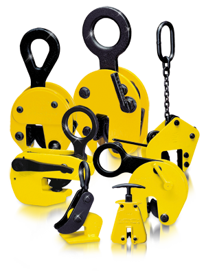 A range of yellow lifting clamps
