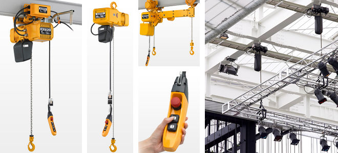 Multiple images of yellow hoists with different pendants