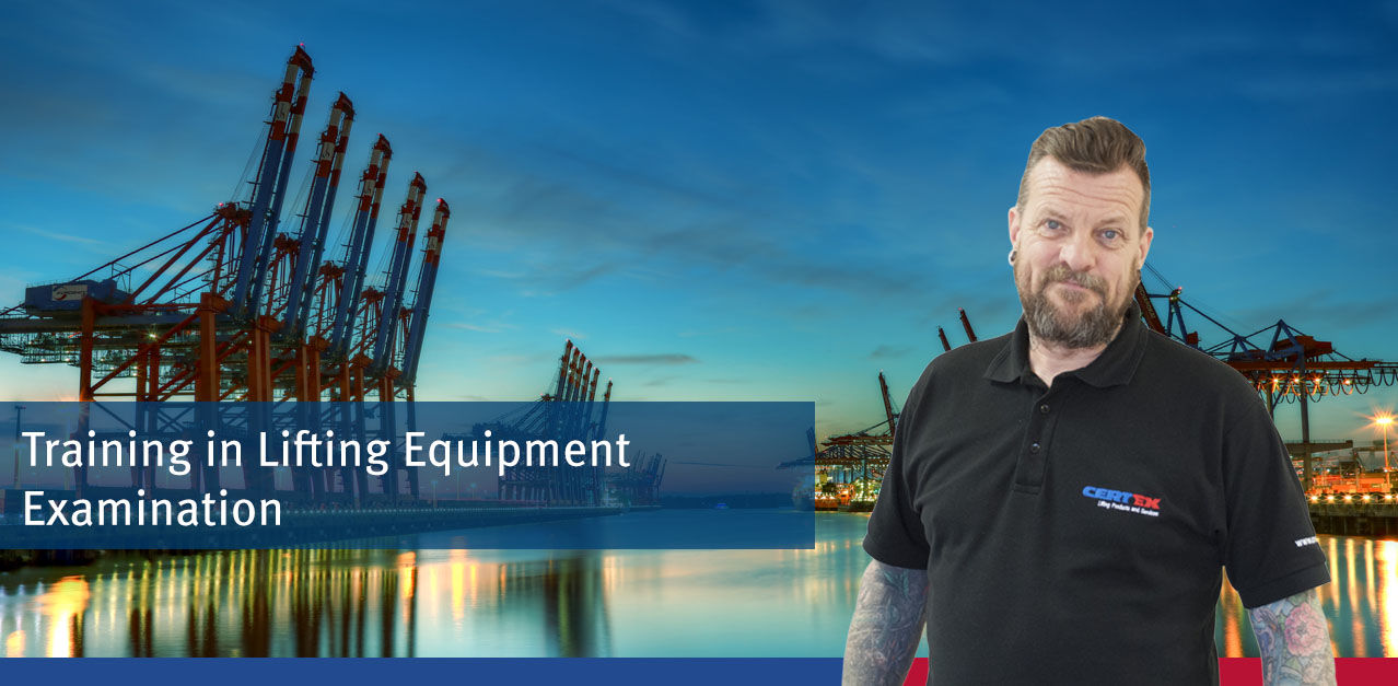 An Image of a port and a trainer with the text Ports Industry training in lifting Equipment Examination