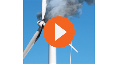 Wind Turbine on fire video screen shot to play