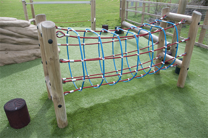 A display of a rope net on a child's playground