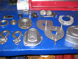 A dismantled lever hoist